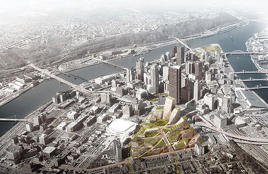 Rendering of an aerial view of the Lower Hill redevelopment plan - IMAGE COURTESY OF BIG ARCHITECTS