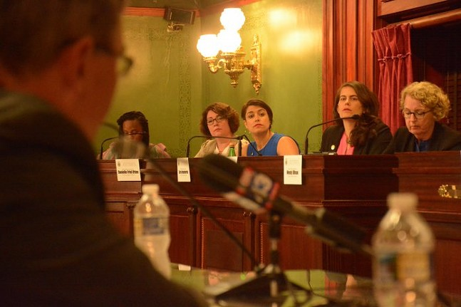 From left to right: Rep. Danielle Friel Otten, Rep. Sara Innamorato, and Rep. Elizabeth Fiedler listen in during a hearing on Restore PA on Mon. June 10, 2019. - PENNSYLVANIA CAPITAL-STAR PHOTO BY STEPHEN CARUSO