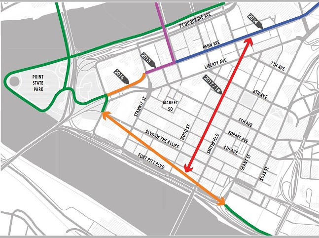 Map of existing and proposed bike-infrastructure routes for Downtown. Lines in orange and red are planned and do not show the specific future alignments. - IMAGE COURTESY KRISTIN SAUNDERS