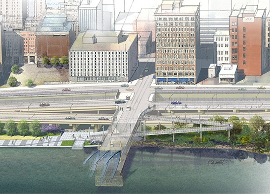 Rendering of Mon Wharf Switchback, which would connect Smithfield Street Bridge path with Mon Wharf trail to Point State Park. - IMAGE COURTESY OF WWW.RIVERLIFEPGH.ORG/