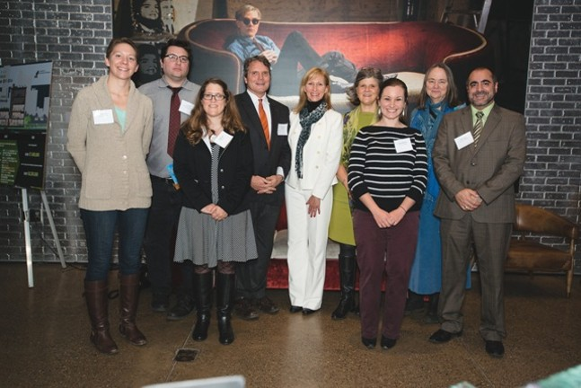 Green Workplace top scorers, left to right: Sara Thompson, Pashek Associates; Jamin Bogi, GASP; Phyllis Barber, Highmark; Marc Mondor, evolveEA; Beth Edwards, The Mall at Robinson; Kathy Hrabovsky, Allegheny County; Kristen Matthews, GTECH; Indigo Raffel, Conservation Consultants, Inc.; and Mario Leone, Monaca Borough. (Not pictured: University of Pittsburgh & Carnegie Museums of Pittsburgh)