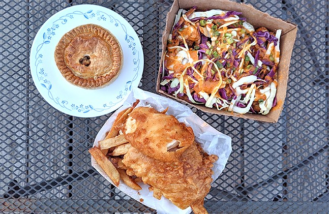 Fish and chips, chicken pie, and Thai chili chicken tots - CP PHOTO: MAGGIE WEAVER