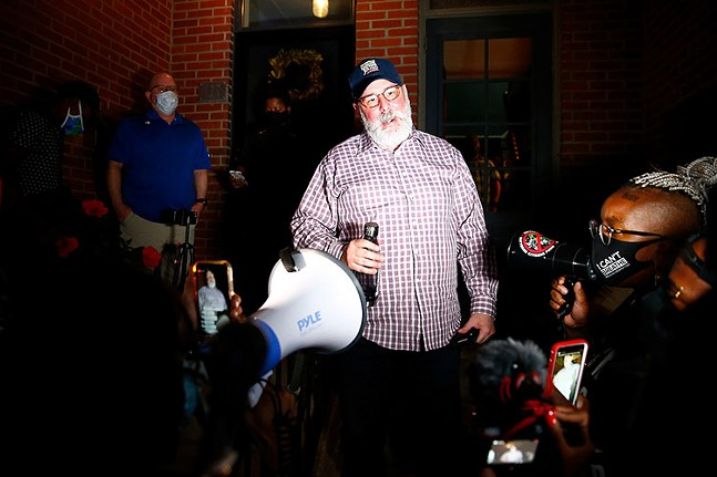 Mayor Bill Peduto talks to protesters outside his house on Aug. 19, 2020. - CP PHOTO: JARED WICKERHAM