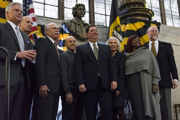 Mayor Bill Peduto with members of the Pittsburgh - Bicentennial Commission - PHOTO BY AARON WARNICK