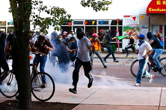 Pittsburgh Police clash with Black Lives Matter protesters in East Liberty on June 1, 2020. - CP PHOTO: JARED WICKERHAM