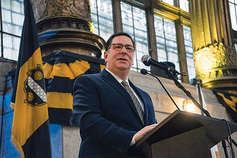 Mayor Peduto at a press conference for Pittsburgh's bicentennial - PHOTO BY AARON WARNICK