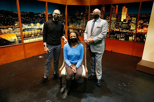 WQED Digital Producer Willy James, WQED Senior Producer Minette Seate, and former Black Horizons host Chris Moore  in the WQED Studios - CP PHOTO: JARED WICKERHAM