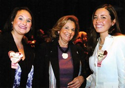 Lisa Bennington (left) and Chelsa Wagner (right) with Jeanne Caligiuri at the kickoff event for the Run Baby Run women's candidate-training program in 2005 - PHOTO COURTESY OF CHELSA WAGNER