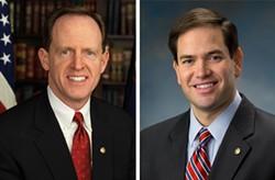 Sen. Pat Toomey, left, and Sen. Marco Rubio, right