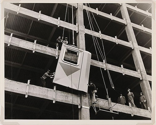 Workmen installing the first aluminum panel on Downtown's Alcoa Building, 1951 - PHOTO BY NEWMAN-SCHMIDT STUDIOS, COURTESY OF DIRECTOR'S DISCRETIONARY FUND