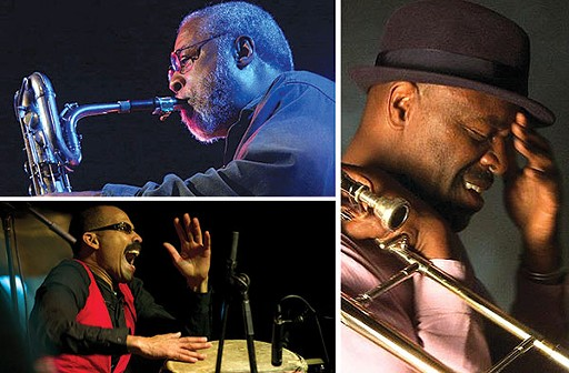 Clockwise from top left: Hamiet Bluiett (photo courtesy of Markus Lackinger), Craig Harris, Kahil El'Zabar