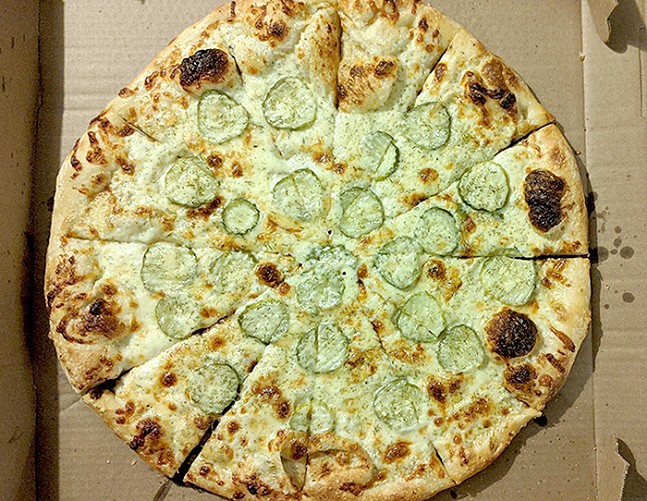 Pickle pizza from Spak Brothers - CP PHOTO: MAGGIE WEAVER