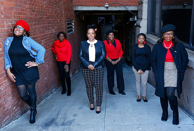 Urban League Young Professionals of Greater Pittsburgh members Monique Smith, Vice President; Anette Nance, Community Service Chair; Ja'Lisa Brown, Health & Wellness Committee Co-Chair and Professional Development Committee Co-Chair; Adia Effiong, Parliamentarian; Chavaysha Chaney, Advocacy Committee Co-Chair; and Dr. Tiffany Hatcher, Professional Development Committee Co-Chair and Health & Wellness Committee Co-Chair - CP PHOTO: JARED WICKERHAM
