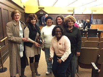 Denise Ranalli-Russell (second from left) with transit advocates - PHOTO COURTESY OF WESLEY DAVIS
