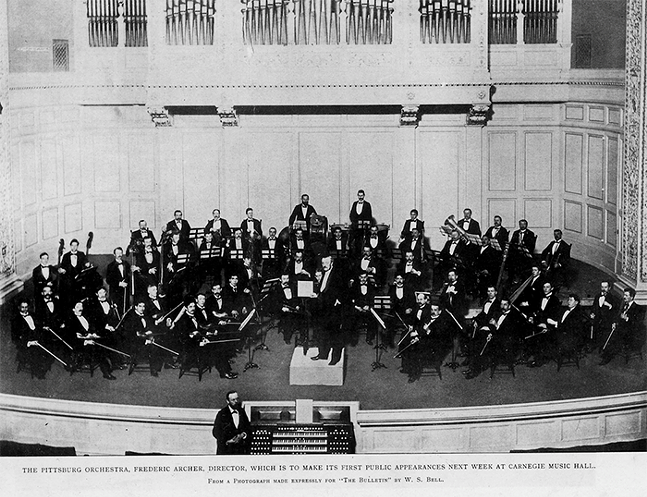 The 1896 Pittsburgh Symphony Orchestra posing before a concert at the Carnegie Music Hall, the symphony's first home. - PHOTO: PITTSBURGH SYMPHONY ORCHESTRA