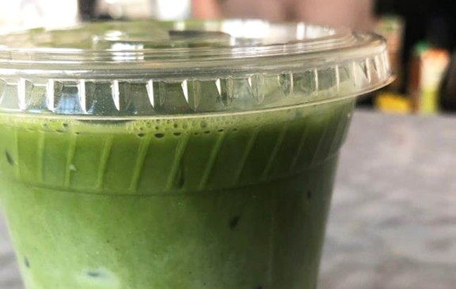 Pea Blossom Matcha Latte from Adda Tea and Coffee House - CP PHOTO: DANI JANAE
