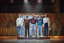 Left to right: Adam Stern Rand, Avery Smith, Nick Sacks, Joshua Grosso and Chris Garber in CMU Drama's The Full Monty - PHOTO COURTESY OF LOUIS STEIN