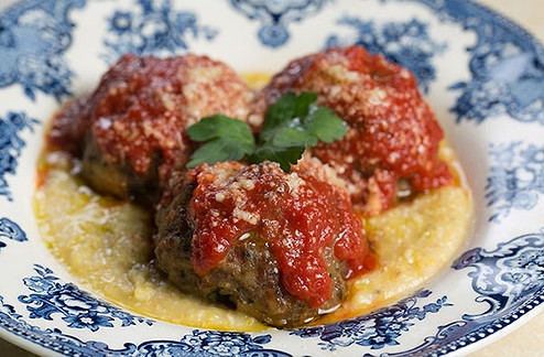 Pork and beef meatballs with tomato sauce, creamy polenta and grana padano cheese - PHOTO BY JOHN COLOMBO