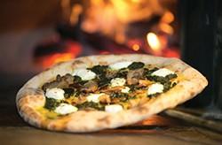 Wood-fired Neapolitan-style porchetta pizza - PHOTO BY JOHN COLOMBO