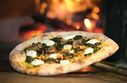 Wood-fired Neapolitan-style porchetta pizza - PHOTO BY JOHN COLOMBO