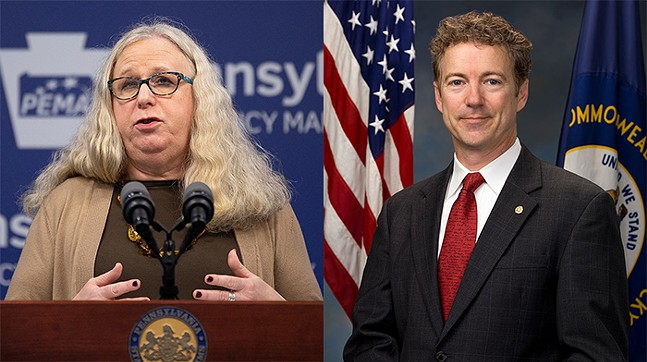 Dr. Rachel Levine (left) and Rand Paul (right)