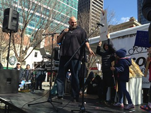 John Fetterman speaks to the Market Square crowd with support from his children. - PHOTO BY RYAN DETO