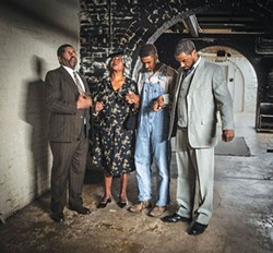 Left to right: Wali Jamal, Lamont Walker II, Tracey D. Turner and LaMar Darnell Fields in A Lesson Before Dying, at Prime Stage - PHOTO COURTESY OF LAURA SLOVESKO