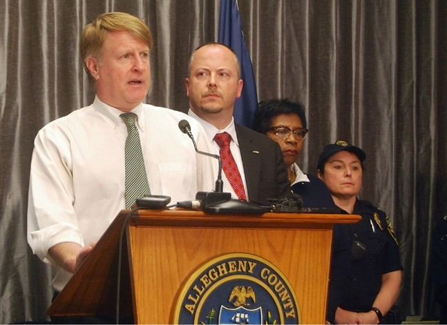 Allegheny County Executive Rich Fitzgerald at today's press conference - PHOTO BY RYAN DETO