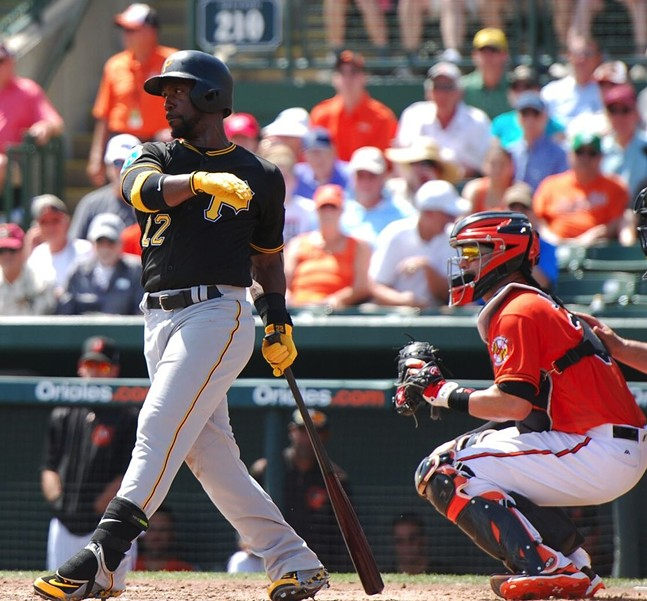 Andrew McCutchen during Wednesday's game against the Baltimore Orioles at Ed Smith Field in Sarasota - PHOTO BY CHARLIE DEITCH
