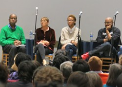 From left to right: Afaa Michael Weaver, Toi Derricotte, Rickey Laurentiis and Nate Marshall at the Frick Fine Arts Auditorium - PHOTO BY BILL O'DRISCOLL