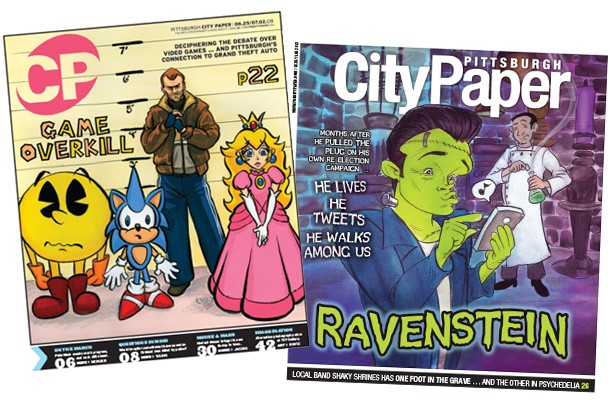 Rhonda Libbey's 2008 Pittsburgh City Paper cover on video games, and her 2013 Halloween-themed cover of Luke Ravenstahl