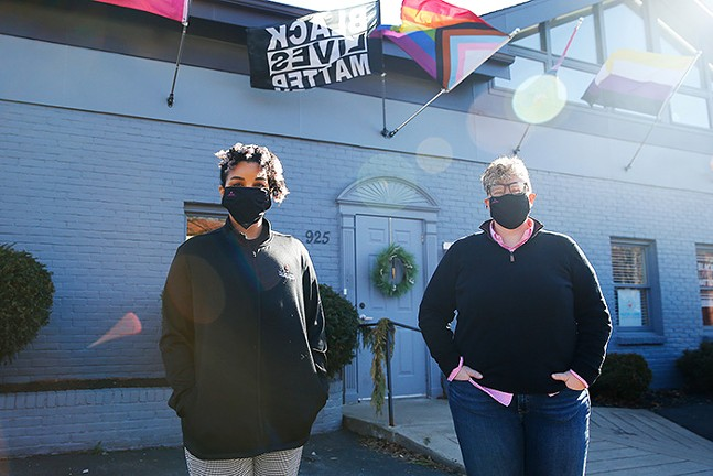 Hugh Lane Wellness Foundation's program director Coley Alston (left) and executive director Sarah Rosso (right) outside of the offices in the North Side - CP PHOTO: JARED WICKERHAM