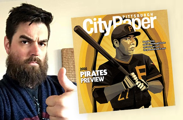 Pittsburgh artist Joshua Gragg and his Pittsburgh City Paper cover illustration - PHOTO COURTESY OF JOSHUA GRAGG