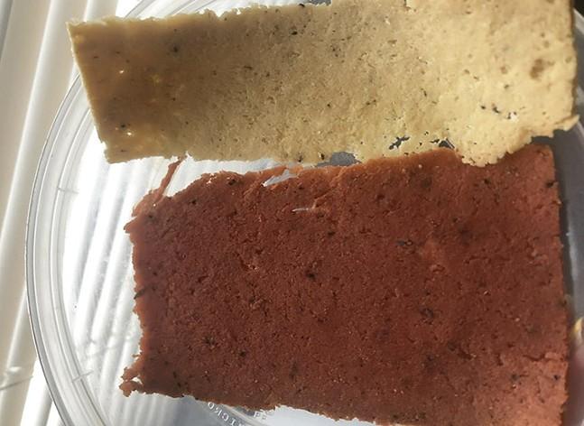 A slice of Unreal Deli Turkey (top) and Corn'd Beef - CP PHOTO: DANI JANAE