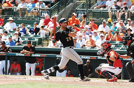 Francisco Cervelli at bat during a spring-training game against the Orioles - PHOTO BY CHARLIE DEITCH