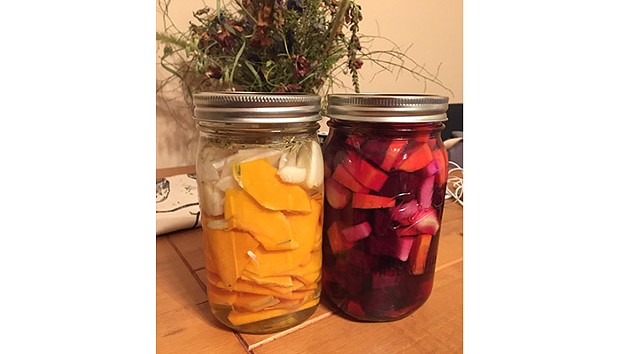 Jars of fermented squash and beets - CP PHOTO: HANNAH LYNN