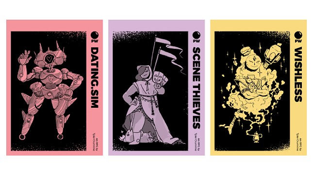 Dating Sim artwork by Sam Mameli, Scene Thieves artwork by Pol Clarissou, Wishless artwork by Jimmy Knives