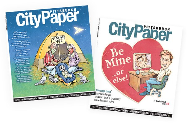 Two of Vince Dorse's past Pittsburgh City Paper cover illustrations