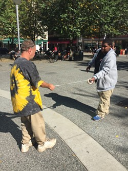 """Volunteers work on the """"Mix-N-Match"""" audio installation earlier this year - PHOTO COURTESY OF THE OFFICE OF PUBLIC ART"""
