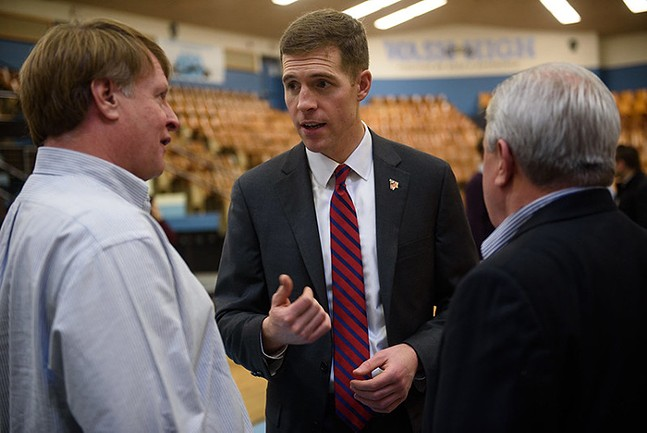 Conor Lamb (center) speaks with Allegheny County Executive Rich Fitzgerald - PHOTO: COURTESY OF LAMB'S CAMPAIGN FLICKR