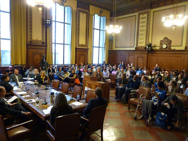Most every seat in Council Chambers was filled for today's post agenda on affordable housing. - PHOTO BY RYAN DETO