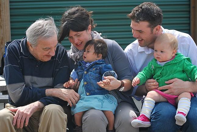 Grandpa Steve, Janelle Rosselot (my sister, holding Faye), and Chris Rosselot (holding Vivian) - PHOTO: GENEVIEVE ROSSELOT