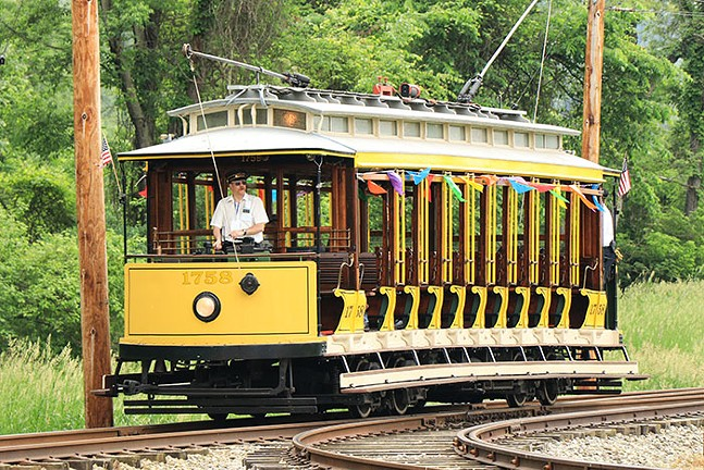 An open car trolley, one of the relics and artifacts included in Remarkable Relics: PA Trolley Museum - PHOTO: TOM PAWLESH FOR THE PENNSYLVANIA TROLLEY MUSEUM