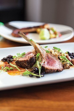 Pallentia: Cordero from Pallentia: Two double-cut lamb chops, celeriac puree, lambcetta, pine nuts, couscous, honey harissa, cilantro and drunken currants - PHOTO BY VANESSA SONG