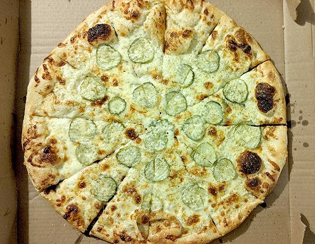 Pickle pizza at Spak Brothers - CP PHOTO: MAGGIE WEAVER