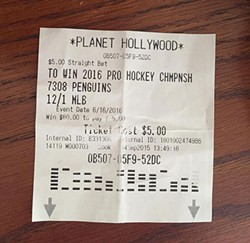A Stanley Cup wager ticket from Planet Hollywood in Las Vegas
