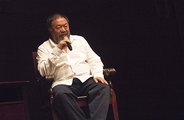 Ai Weiwei spoke to a sold-out audience at the Carnegie Music Hall in Oakland the night before Andy Warhol   Ai Weiwei exhibit opened at the Andy Warhol Museum - PHOTO BY WILLIAM LUDT