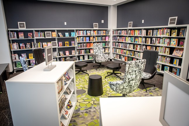 An area for teens in the new upstairs portion of Carnegie Library Downtown, is designed for teens to work together and get help on assignments. - CP PHOTO: KAYCEE ORWIG