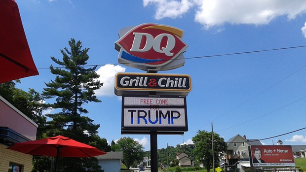 The Dairy Queen in Charlerio, Pa., tried to attract Trump during his visit to nearby Monessen. - PHOTO BY ASHLEY MURRAY
