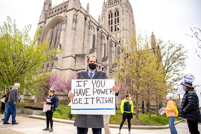 Reverend Randy Bush, East Liberty Presbyterian Church Head Pastor, explains how his church is committed to equality and justice for all. - CP PHOTO: KAYCEE ORWIG